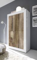 Komoda BasicNEW-LB LBI PER bílý lesklý lak v kombinaci se starým dřevem