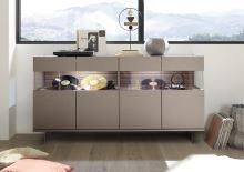 Komoda Glamour-SB BRO ZIG bronzový dekor + dekor zigzag látka