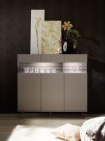 Komoda Glamour-LB BRO ZIG bronzový dekor + dekor zigzag látka