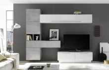 Obývací stěna Infinity-kompozice7 LBI BET kombinace bílého lesku a betonu