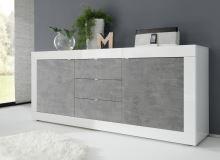 Komoda BasicNEW-COM3 LBI BET bílý lesklý lak v kombinaci s betonem