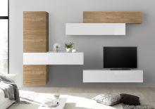 Obývací stěna Infinity-kompozice2 NST LBI kombinace světlého ořechu a bílého laku