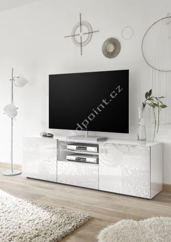 Skříňka pod televizi Xaos-TV2 korpus bílý lak, dvířka bílý vzor