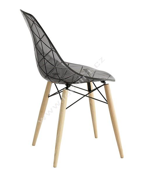 Jídelní židle Glamour dubové přírodní nohy a kouřový sedák