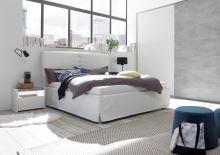 Čalouněná postel Full-P-160x200 LC01 bílá imitace kůže