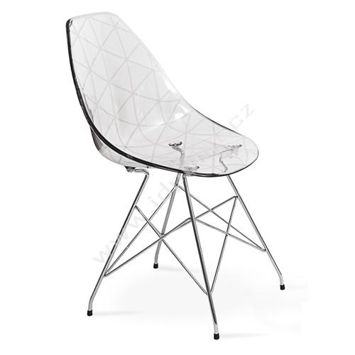 Jídelní židle Glamour-R chromovaná podnož, sedák čirý plast