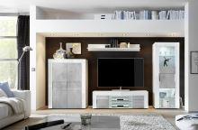 Obývací sestava Easy-4 LBI BET VT bílý lesklý lak v kombinaci s betonem a sklem
