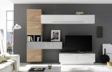 Obývací stěna Infinity-kompozice7 LBI NST BET kombinace bílého laku,světlého ořechu,betonu