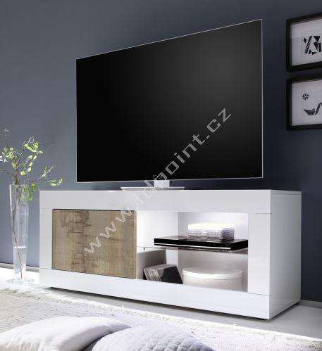 TV skříňka BasicNEW-TV-S LBI PER bílý lesklý lak v kombinaci se starým dřevem
