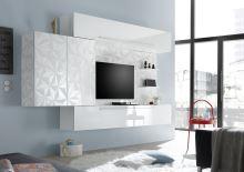 Obývací stěna Infinity-kompozice8 LBI BISP kombinace bílého laku a bílého dekoru