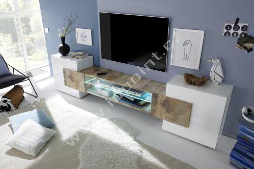 Skříňka pod televizi Incastro-TV-S bílý lesklý lak a staré dřevo