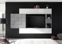 Obývací stěna Infinity-kompozice6 LBI BET kombinace bílého lesku a betonu