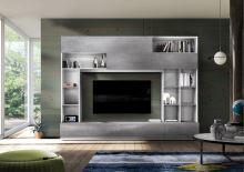 Kompaktní obývací stěna Praktiko-Wall LBM BET korpus bílá matná, čílka beton
