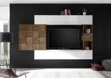 Obývací stěna Infinity-kompozice6 LBI NCA kombinace bílého lesku a ořechu