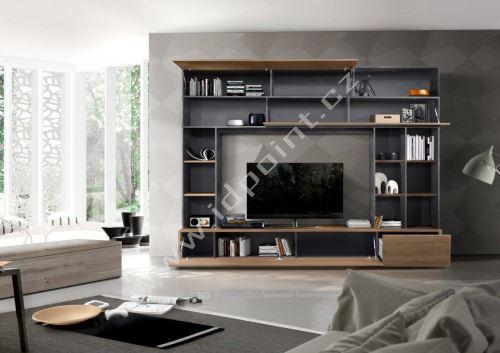 Kompaktní obývací stěna Praktiko-Wall OXI NCS korpus oxidovaný kámen, čílka ořech Stelvio