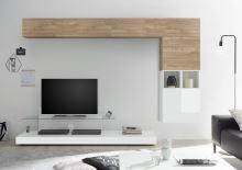 Obývací stěna Infinity-kompozice5 NST LBI kombinace světlého ořechu a bílého lesku