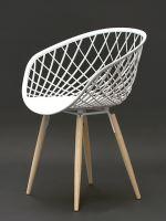 Moderní židle Harry s podnoží dub přírodní a sedák plast bílý matný
