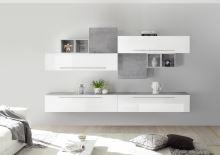 Obývací stěna Infinity-kompozice9 LBI BET kombinace bílého laku a betonu