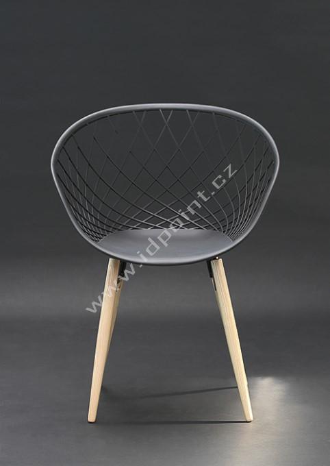 Moderní židle Harry s podnoží dub přírodní a sedák plast černý matný