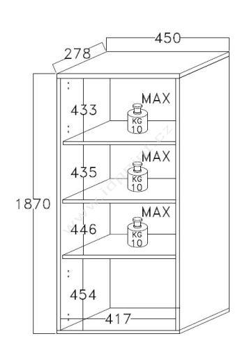 Obývací stěna Sorano-kompozice3 bílý lak v kombinaci s betonem