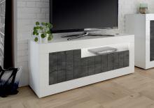 TV skříňka Urbino-TV LBI OXI korpus bílý lesk, čela oxidovaný kámen