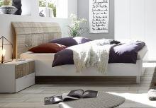 Manželská postel Xaos-P2-160 bílý mat v kombinaci s dekorem béžovým