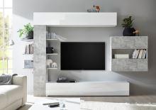 Obývací stěna Sorano-kompozice2 bílý lak v kombinaci s betonem