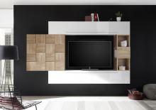 Obývací stěna Infinity-kompozice6 LBI NST kombinace bílého lesku a světlého ořechu