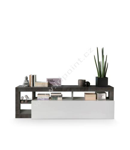 Skříňka pod TV Livigno-TV LBI OXI bílý lesklý lak v kombinaci s oxidovaným kamenem