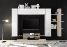 Kompletní obývací stěna Nice-KOMP1 LBI RSA bílý lesklý lak v kombinaci s dubem samoa