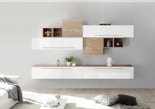 Obývací stěna Infinity-kompozice9 LBI NST kombinace bílého laku a světlého ořechu