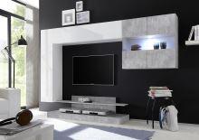 Kompletní obývací stěna Nice-KOMP2 LBI BET bílý lesklý lak v kombinaci s betonem