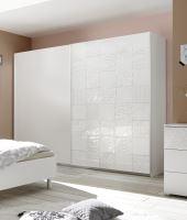 Vybavená šatní skříň s posuvnými dveřmi Xaos-SD-220 bílý mat v kombinaci s dekorem bílým