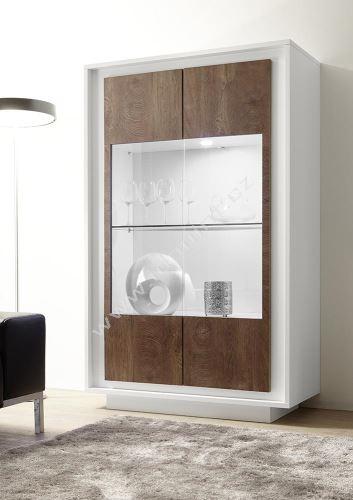 Vitrína Sky-VET bílý matný lak+dub koňak, transparentní sklo
