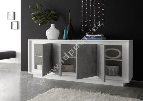 Komoda Sky-LB bílý matný lak+ beton