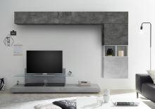 Obývací stěna Infinity-kompozice5 BET OXI kombinace betonu a oxidovaného kamenu