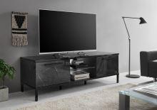 Marmo-TV Nízká skříňka pod televizor  leštěný černý mramor a černá lesklá