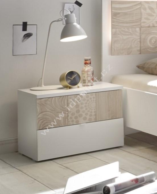 Noční stolek Xaos-NS bílý mat, jedna zásuvka dekor béžový