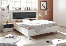 Manželská postel Xaos-P1-160 bílý mat v kombinaci s dekorem šedým