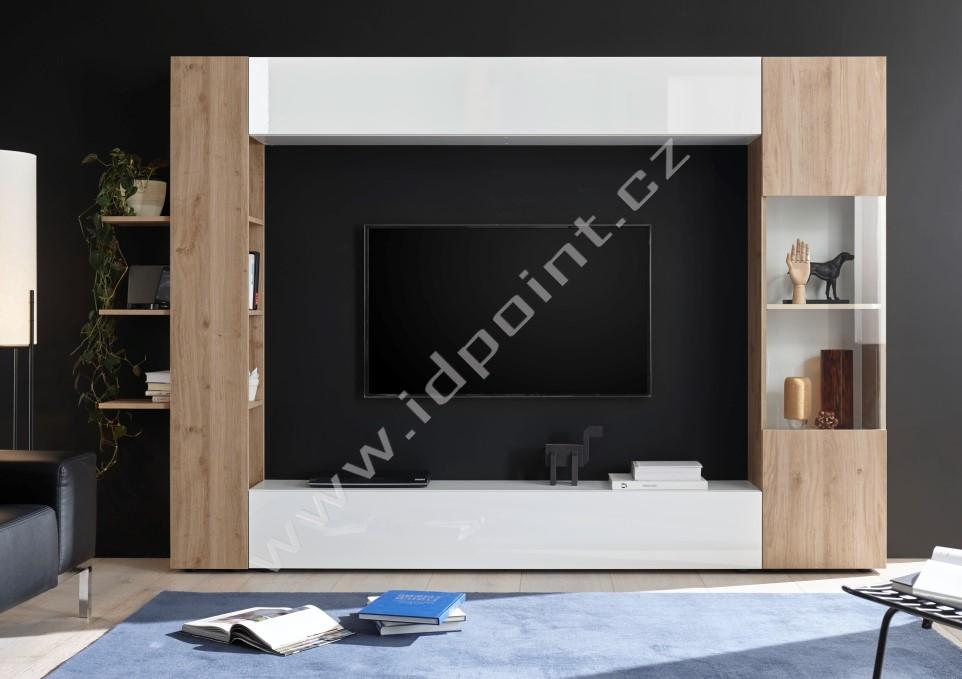Obývací stěna Sorano-kompozice3 bílý lak v kombinaci s dubem kadiz