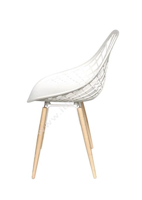 Moderní židle Philo s podnoží dub přírodní a sedák plast bílý matný
