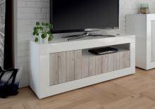 TV skříňka Urbino-TV LBI WPI korpus bílý lesk, čela bělená borovice