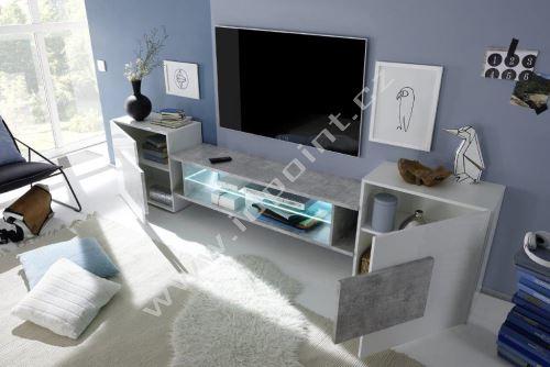 Skříňka pod televizi Incastro-TV-S bílý lesklý lak a beton