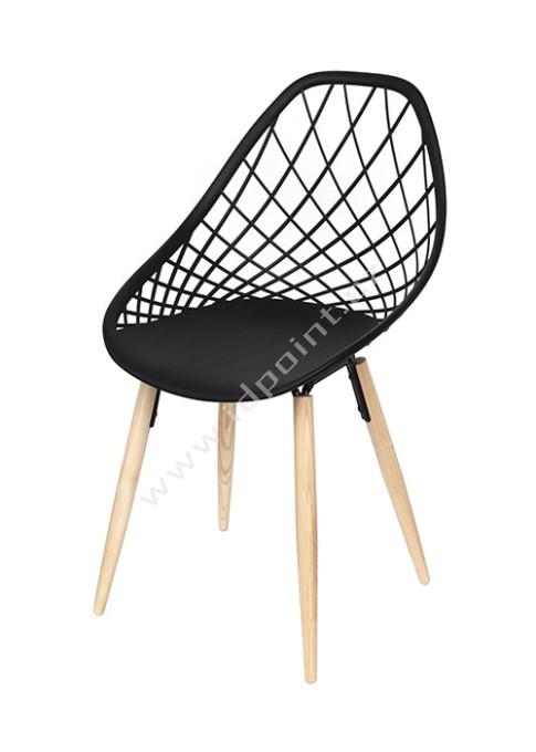 Moderní židle Philo s podnoží dub přírodní a sedák plast černý matný