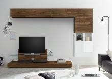 Obývací stěna Infinity-kompozice5 NCA LBI kombinace ořechu a bílého lesku