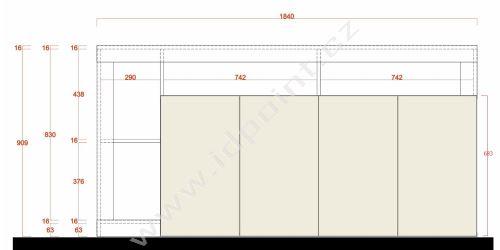Komoda Livigno-SB4 LBI PER bílý lesklý lak v kombinaci s ostařelým dřevem