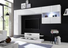 Kompletní obývací stěna Nice-KOMP2 LBI LBI bílý lesklý lak