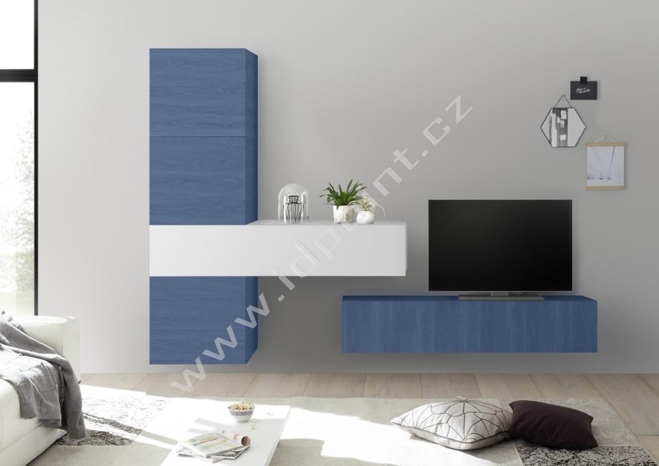 Obývací stěna Infinity-kompozice1 WBLU LBI kombinace modrého dubu a bílého laku