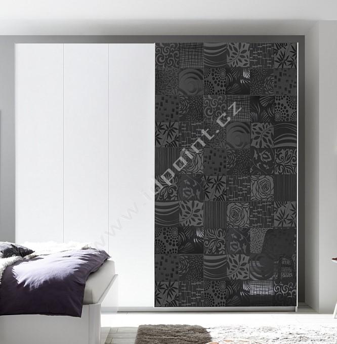 Vybavená šatní skříň s posuvnými dveřmi Xaos-SD-275 bílý mat v kombinaci s dekorem šedým