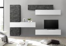 Obývací stěna Infinity-kompozice2 OXI LBI kombinace oxidovaného kamene a bílého laku